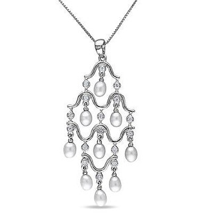 Amour Sterling Silver 4-4.5 Mm Freshwater Pearl Cz Chandelier Pendant Necklace 18