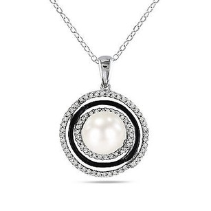 Amour Sterling Silver 8-9 Mm Pearl 14 Ct Tw Diamond Halo Pendant Necklace I-j 18