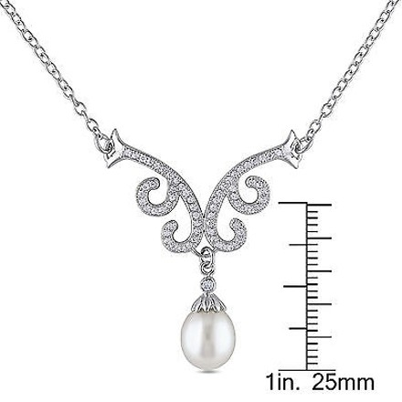 Amour Sterling Silver 8.5-9 Mm Freshwater Pearl And Cubic Zirconia Necklace 18 Chain