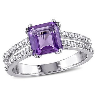Amour Sterling Silver Amethyst And 15 Ct Tdw Diamond Cocktail Ring G-h I2-i3