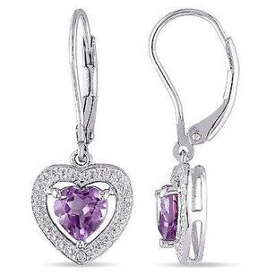 Amour Sterling Silver Amethyst And Diamond Accent Drop Dangle Heart Leverback Earrings