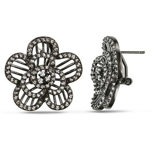 Amour Sterling Silver Black Rhodium Plated Cubic Zirconia Cz Flower Shape Earrings