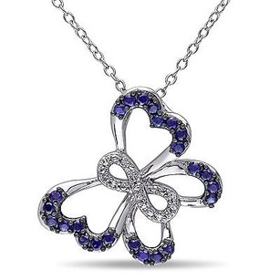 Amour Sterling Silver Blue Sapphire Diamond Butterfly Infinity Pendant Necklace 18