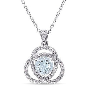 Amour Sterling Silver Blue Topaz 110 Ct Tdw Diamond Love Knot Pendant Necklace 18