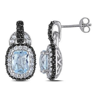 Amour Sterling Silver Blue Topaz And Multi-gemstone Dangle Stud Earrings