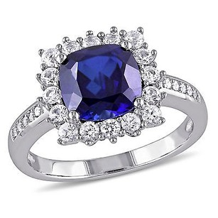 Amour Sterling Silver Created Blue And White Sapphire With Diamond Accent Ring