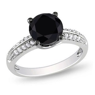 Amour Sterling Silver Ct Tgw Black And White Cubic Zirconia Engagement Ring