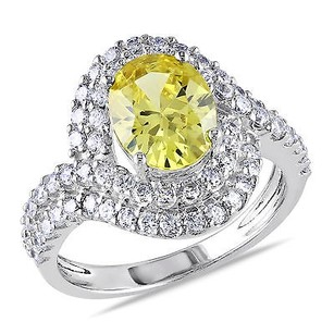 Amour Sterling Silver Ct Tgw Oval Yellow And White Cz Bypass Engagement Ring
