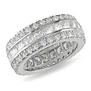 Amour Sterling Silver Ct Tgw Square Round Cubic Zirconia 8mm Wide Eternity Band