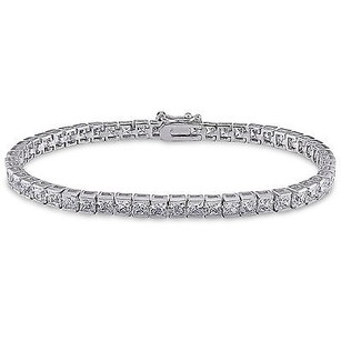 Amour Sterling Silver Cubic Zirconia Tennis Bracelet 7 14.04 Ct