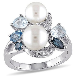 Amour Sterling Silver Freshwater Pearl Topaz And White Sapphire Cocktail Ring 6.5-8 Mm