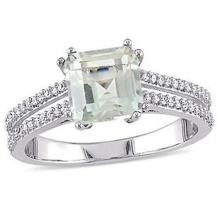 Amour Sterling Silver Green Amethyst And 15 Ct Tdw Diamond Cocktail Ring G-h I2-i3