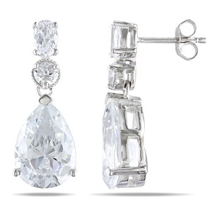 Amour Sterling Silver Pear Shape Round Oval Cubic Zirconia Dangle Earrings