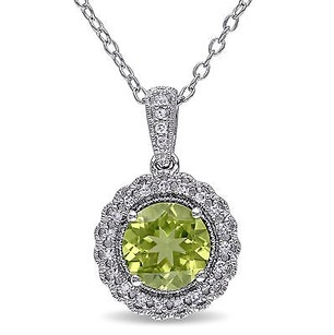 Amour Sterling Silver Peridot And 110 Ct Tdw Diamond Pendant Necklace G-h I2-i3 18
