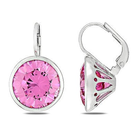 Amour Sterling Silver Pink Cubic Zirconia Leverback Stud Earrings 28.87 Ct