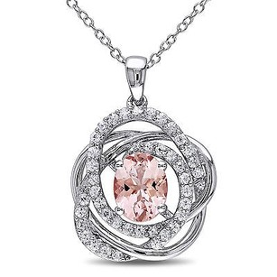 Amour Sterling Silver White Sapphire Morganite Pendant Necklace 18