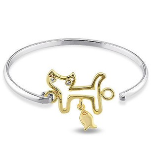 Amour Two-tone Sterling Silver White Topaz Cat Bangle Bracelet 6