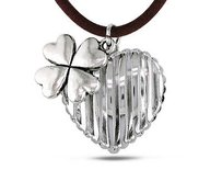 Amour White Brass Cord Hanging Flower Charm Heart Pendant Necklace 17