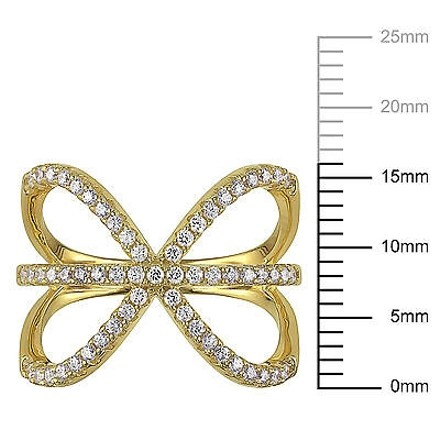Amour Yellow Sterling Silver Cubic Zirconia Bow Cocktail Cluster Fashion Ring