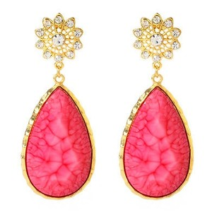 Amrita Singh Amrita Singh 18k Gold Plated East Lake Crystal Fuschia Resin Earrings Erc 82