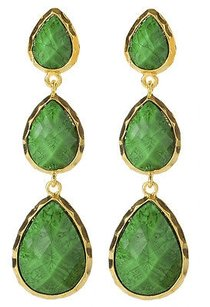Amrita Singh Amrita Singh Gold East Hampton Evergreen Resin Tear Drop Earrings Erc 1606