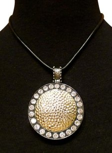 Amrita Singh Amrita Singh Mixed Metal and CZ Circular Pendant on Black Leather Cord Necklace