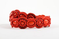 Andrew Gn Andrew Gn Coral Red Beaded Leather Scalloped Waist Belt