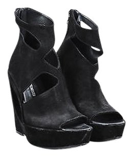 Ann Demeulemeester Camoscio Nero Suede Hole Peep Toe Wedges Black Platforms