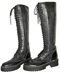 Ann Demeulemeester Leather Lace Up Combat Black Boots