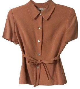 Ann Taylor 100% Silk Fully-lined Button Down Shirt appricot