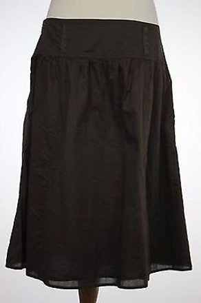 Ann Taylor Womens Brown Solid Skirt 100 Cotton A-line Below Knee chic
