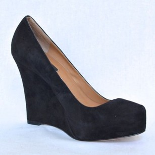 Ann Taylor Lucia Womens Suede High Heel Wedge Pump Black Platforms