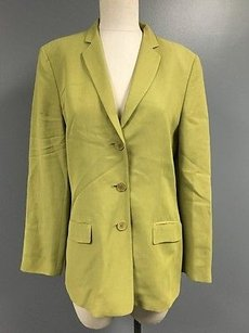 Ann Taylor Ann Taylor Lime Green Linen Blend Collared Three Button Blazer Sma8829