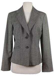 Ann Taylor Womens Blazer Wool Basic Long Sleeve Black White Jacket