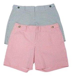 Ann Taylor Red Striped Lot Of Flat Zip Front 0 2424 A Shorts red, cream, charcoal