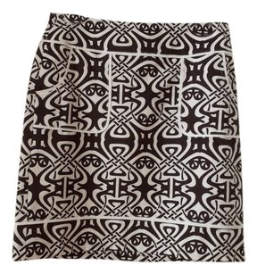 Ann Taylor Cotton Skirt Brown and white print