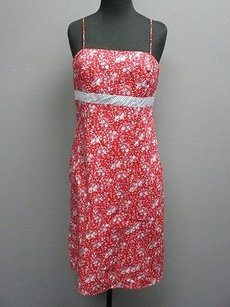 Ann Taylor short dress red, blue , white Red Floral Cotton Spaghetti Straps Lined Sun Sma 5742 on Tradesy