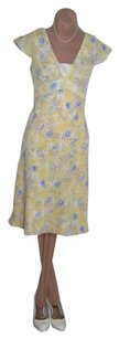 Ann Taylor short dress YELLOW SILKY FLORAL PRINT Feminine Romantic To Sell Quick Low $ Ship on Tradesy