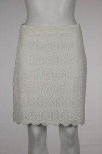 Ann Taylor LOFT Womens Petite White Lace 2p Above Knee Skirt Brown