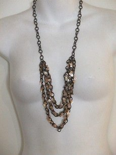 Ann Taylor LOFT Ann Taylor Bronze Tiered Sequin Layered Necklace Lot Of Pieces