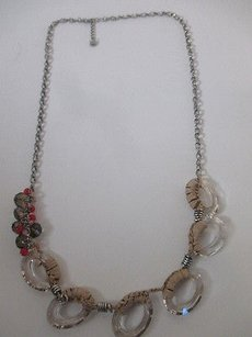 Ann Taylor LOFT Ann Taylor Clear Ring Paper Wrapped Beaded Cluster Link Necklace