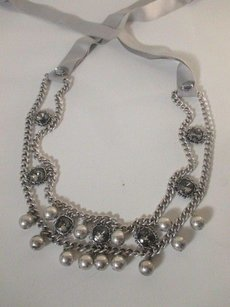 Ann Taylor LOFT Ann Taylor Loft Antique Silver Link Bauble Crystal Bib Tie Necklace
