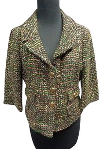 Ann Taylor LOFT Ann Taylor Loft Green Brown Lined Button Front Tweed Blazer Jacket Sma7428