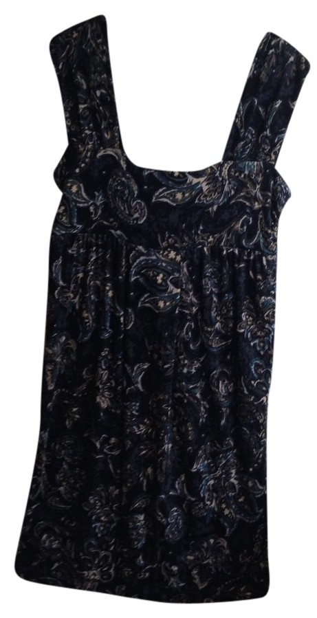 Ann Taylor LOFT Dark Blue Print Short Casual Dress
