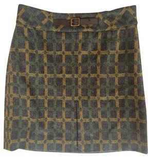 Ann Taylor LOFT Skirt Charcoal /green/yellow