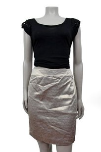 Ann Taylor LOFT Metallic Holiday Straight Skirt Silver metallic