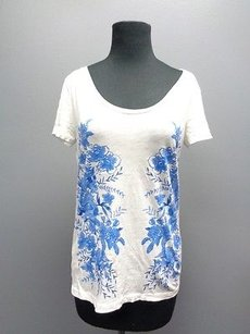 Ann Taylor LOFT Floral Short Sleeved Sma7882 T Shirt White And Blue