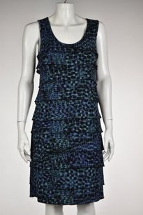 Ann Taylor Womens Black Blue Dress
