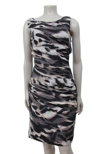 Ann Taylor Ruched Textured Animal Print Sheath Dress