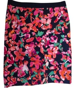 Ann Taylor Skirt Blue with bright red/pink green
